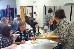 Both students and teachers were served small slices of pizza on Thursday during second block. Only a few classes were chosen to participate in a food survey. -Photo by Jess Molander
