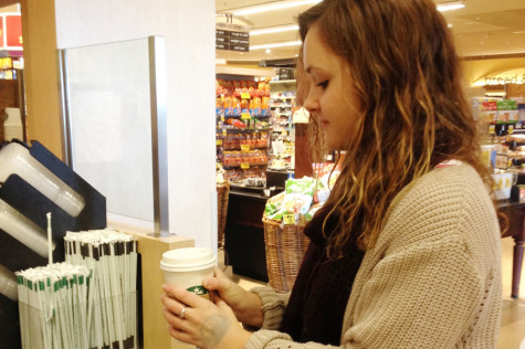 MHS senior Emma Dainton satisfies her daily craving for coffee by visiting the Starbucks in the local Safeway.  Many MHS students rely on coffee to help get them through the day.