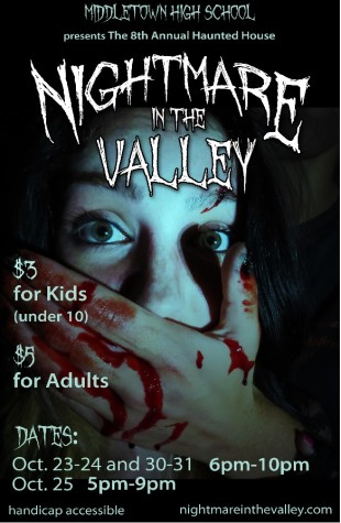 Middletown High School's haunted house poster, the drama department holds this annually to raise money.