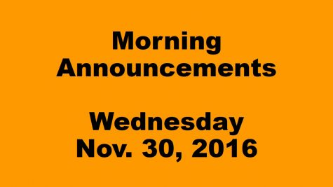 Morning Announcements – Wednesday, November 30, 2016