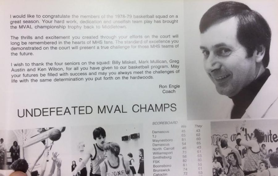 A photo from the Chestnut Burr 1979 yearbook includes a letter from Coach Ron Engle to his players from that season's team, which went to the state championship game.
