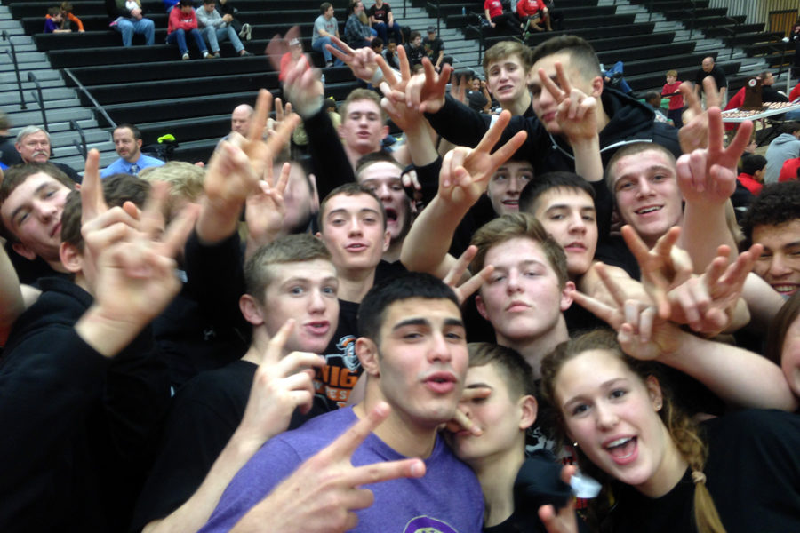 MHS wrestlers hold up their sign for victory after capturing their second straight state title.