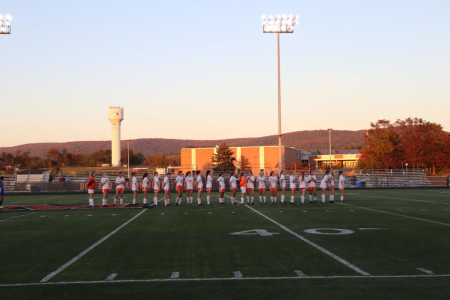 The girls varsity soccer team faced Williamsport at home on 10/27. The girls are lined up waiting for the game to begin.