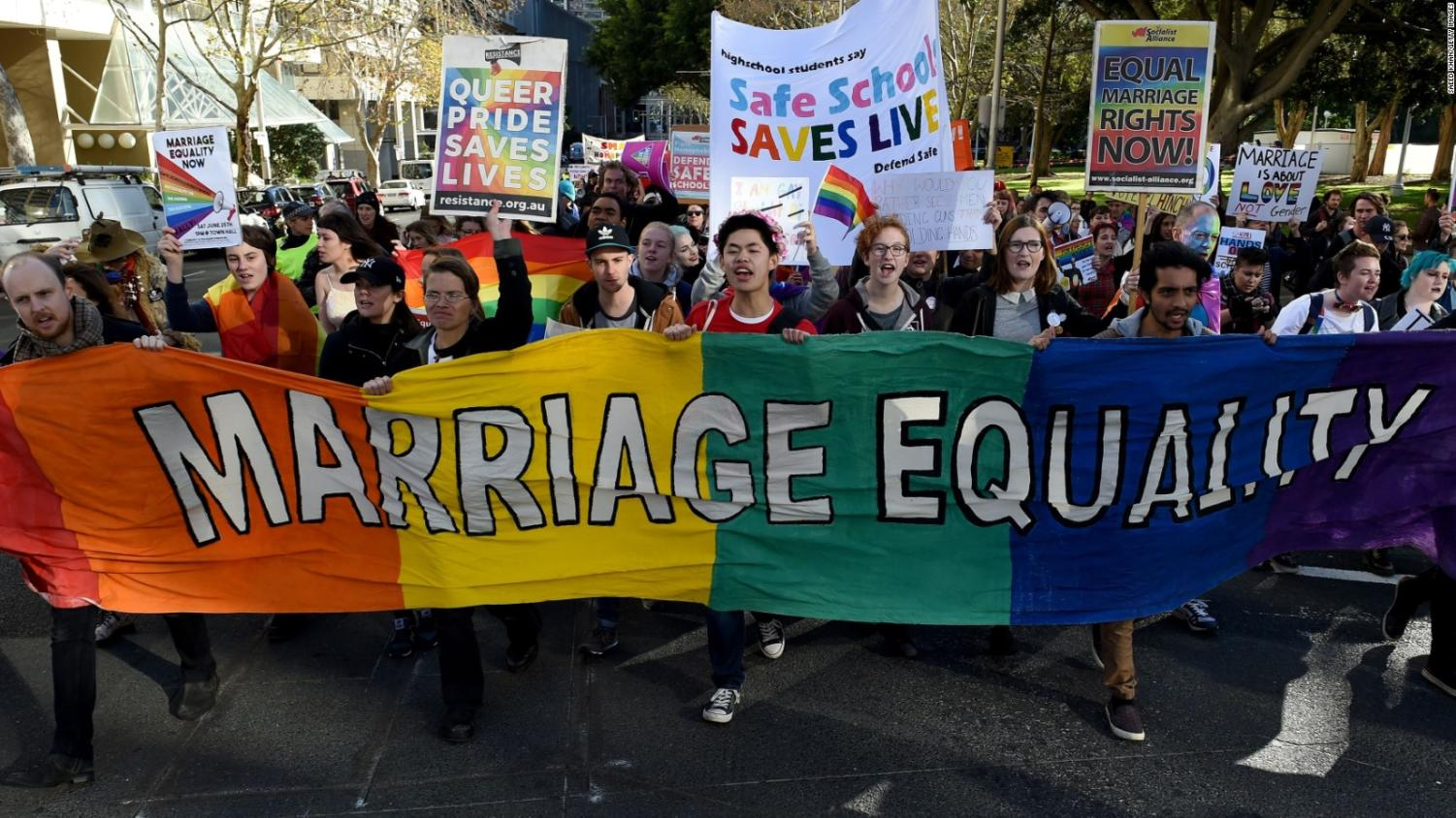 Australia marching for gay marriage rights. Photo by CNN