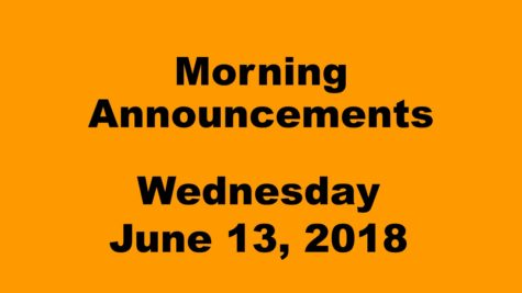 Morning Announcements: 9.13.18