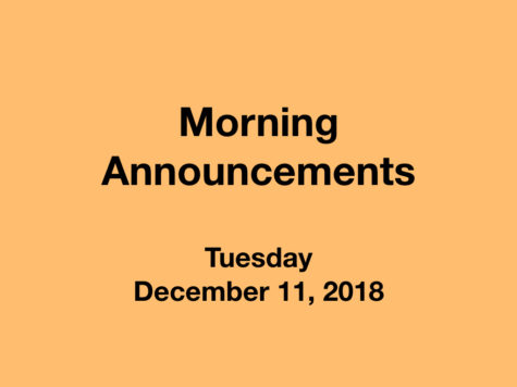 Morning Announcements: 11.13.18