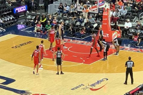 The Washington Wizards are playing the San Antonio Spurs. This was taken April 5th, 2019.