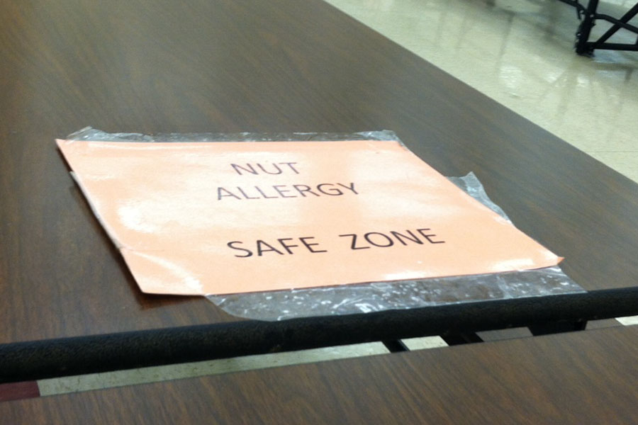MHS has a Nut Allergy Safe Zone table in the cafeteria for sudents with nut allergies. Allergies in children haven increased by 18 percent over the past decade. -Photo by Rebecca Holcomb