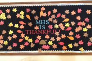 The Middletown High School SGA board reminds students to be thankful