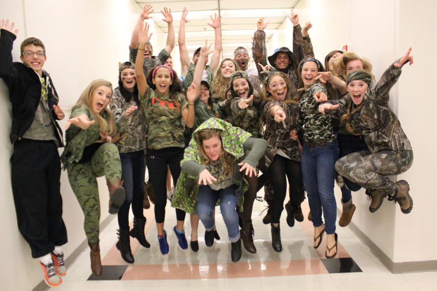 Mr. Kady's Journalism class joins in on the spirit week festivities by dressing in all camo. Camo day was a popular day with all grades alike.