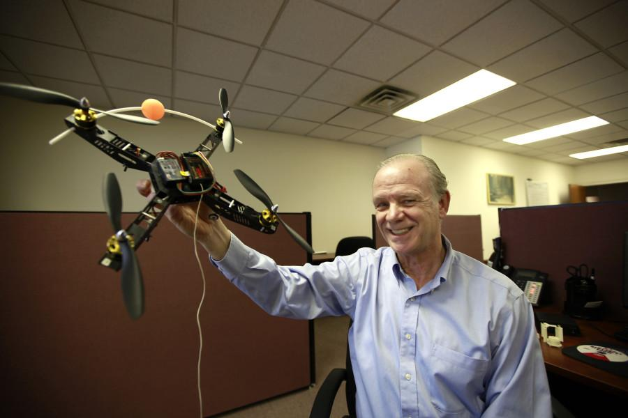 To students at Villanova University, Edmond Dougherty is an engineering professor. Outside the classroom, however, the entrepreneur founded Ablaze Development. The Villanova, Pennsylvania, venture creates prototypes of inventions to prove they work, including this model quadcopter. It's almost like an island of broken toys, he said. (David Swanson/Philadelphia Inquirer/MCT)