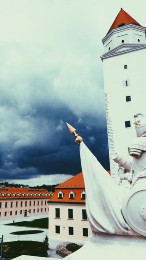 Dark clouds move over Bratislava Castle in Slovakia.