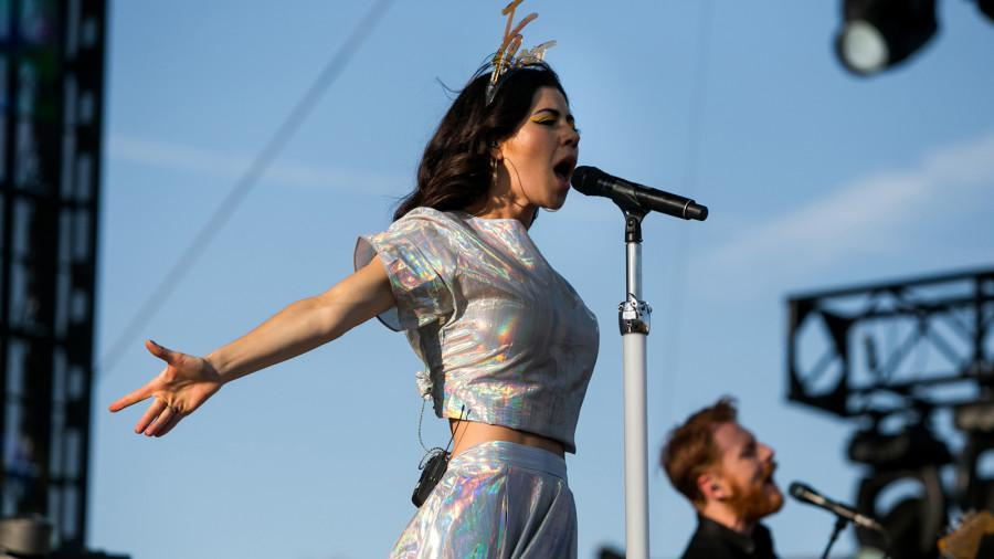 Marina Lambrini Diamandis, known by her stage name Marina and the Diamonds, performs at the Coachella Stage.