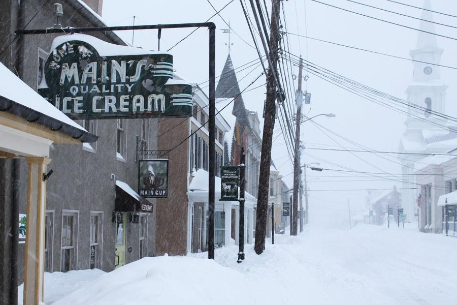 Main Street in Middletown was covered in show during the blizzard.