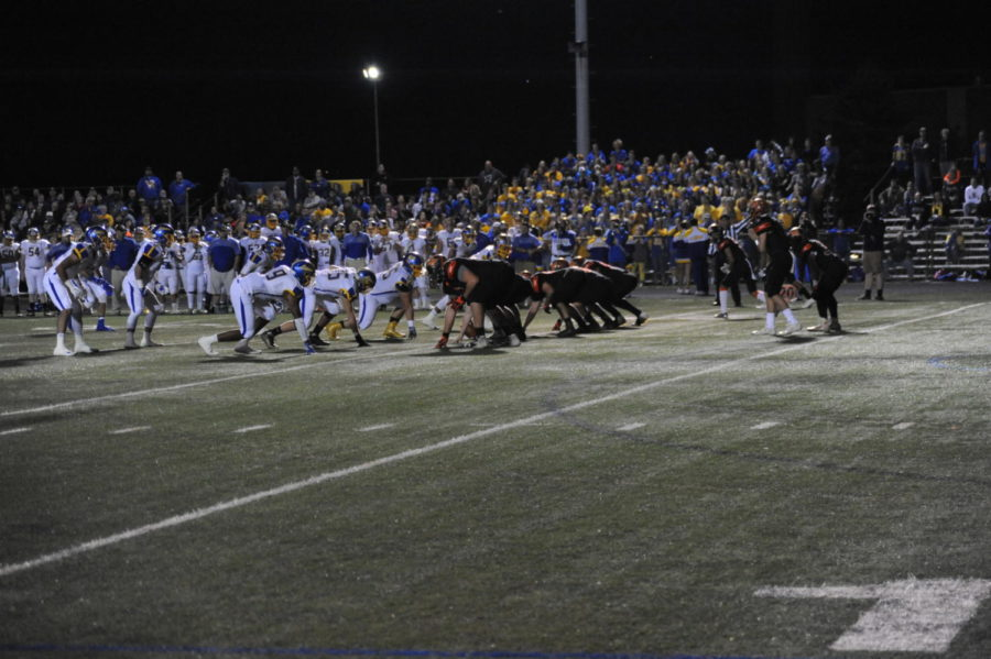 The Knights faced off against the Lions on 11/3. Here, they begin a play to start the game.