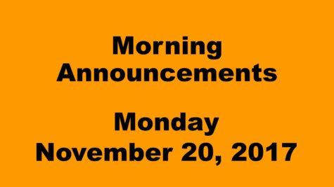 Morning announcements: 11.20.17
