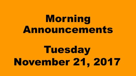 Morning announcements: 11.21.17