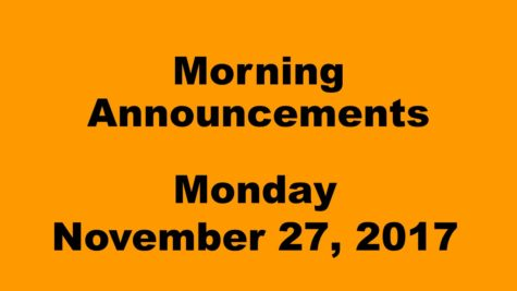 Morning announcements: 11.27.17