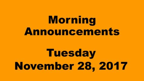 Morning announcements: 11.28.17