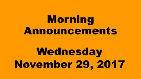 Morning announcements: 11.29.17