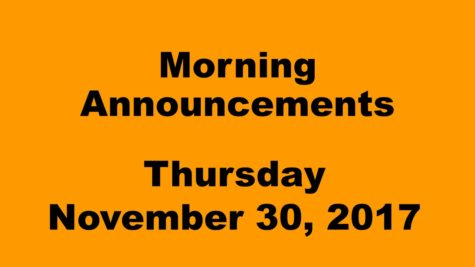 Morning announcements: 11.30.17