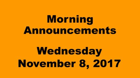 Morning announcements: 11.8.17