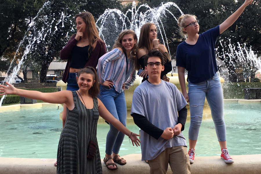 On their way to attending the breakout session where the keynote speaking would be,  Quill and Scroll students strike a pose similar to the acclaimed show,