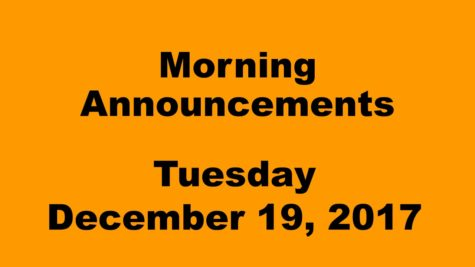 Morning announcements: 12.19.17