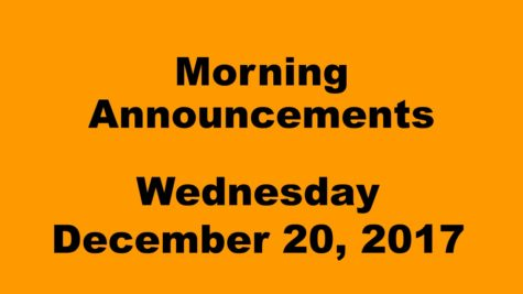 Morning announcements: 12.20.17