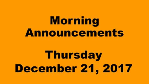 Morning announcements: 12.21.17