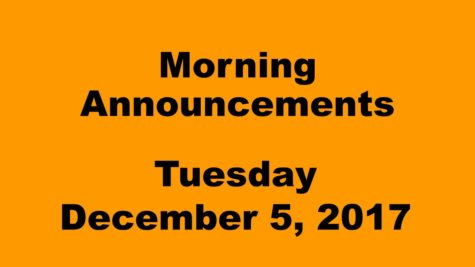 Morning announcements: 12.5.17