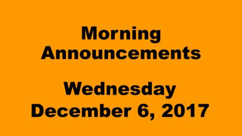 Morning announcements: 12.6.17