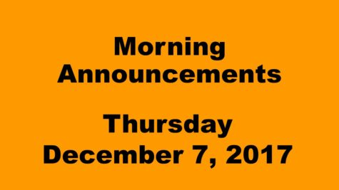 Morning announcements: 12.7.17