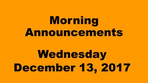 Morning announcements: 12.13.17