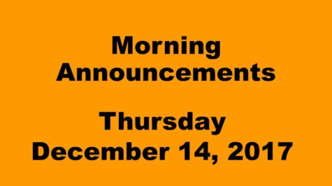Morning announcements: 12.14.17