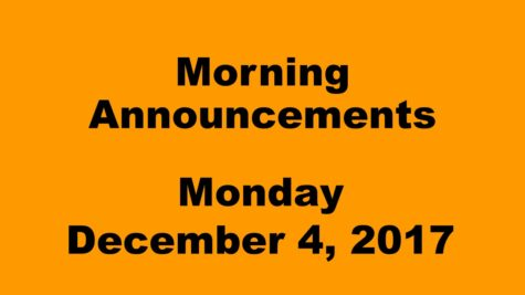 Morning announcements: 12.4.17