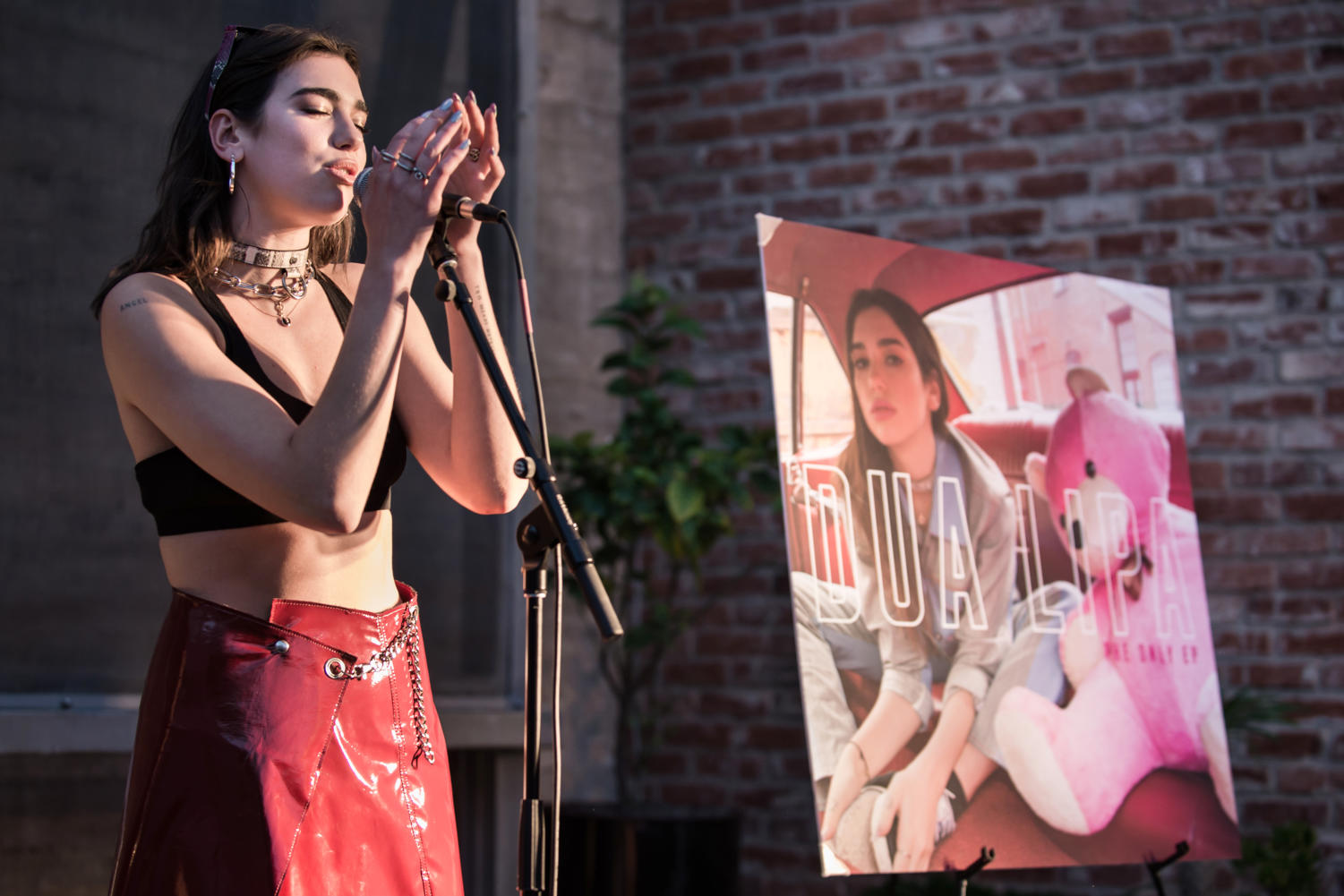 Dua Lipa performs at the Space 15 Twenty event in April 2017.
