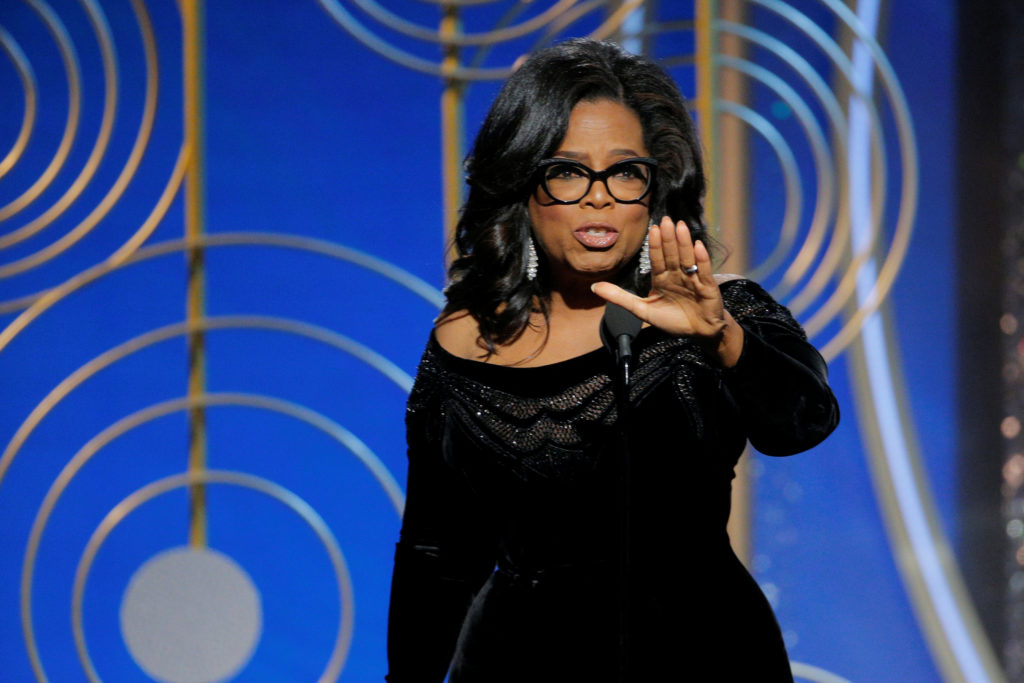 Oprah Winfrey speaks after accepting the Cecil B. Demille Award at the 75th Golden Globe Awards in Beverly Hills, California, U.S. January 7, 2018.              Paul Drinkwater/Courtesy of NBC/Handout via REUTERS ATTENTION EDITORS - THIS IMAGE WAS PROVIDED BY A THIRD PARTY. NO RESALES. NO ARCHIVE. For editorial use only. Additional clearance required for commercial or promotional use, contact your local office for assistance. Any commercial or promotional use of NBCUniversal content requires NBCUniversal's prior written consent. No book publishing without prior approval. - RC1A679211B0