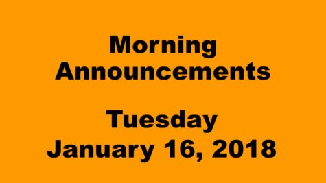 Morning announcements: 1.16.17