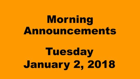 Morning announcements: 1.2.18