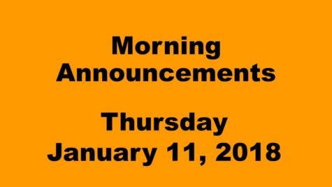Morning announcements: 1.11.18