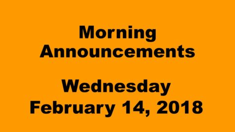 Morning announcements: 2.14.18