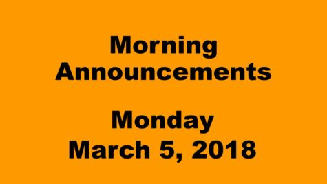 Morning announcements: 3.12.18