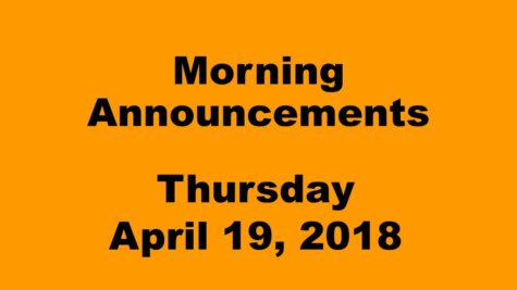 Morning announcements: 4.19.18