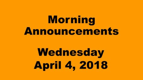 Morning announcements: 4.4.18