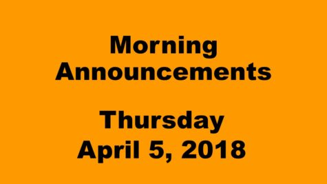 Morning announcements: 4.5.18