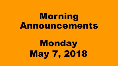 Morning announcements: 1.25.18