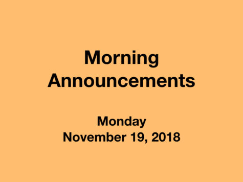 Morning Announcements: 11.19.18