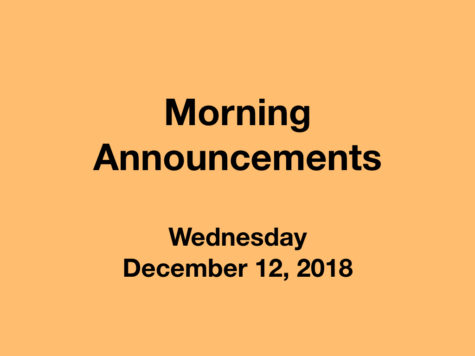 Morning Announcements: 12.12.18