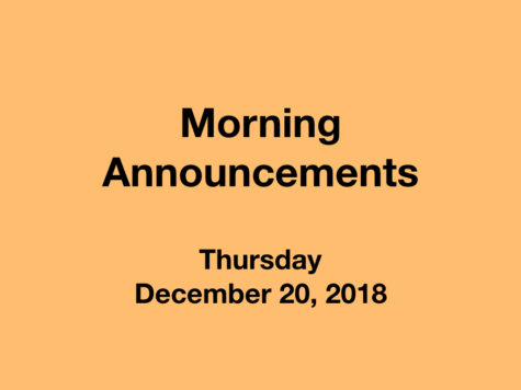 Morning Announcements: 1.16.19